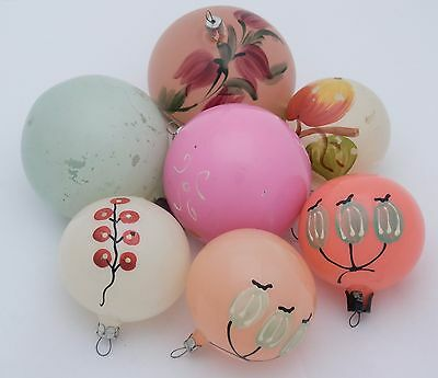7 Hand Painted Balls Ball VINTAGE glass XMAS ORNAMENT Russian Tree decoration