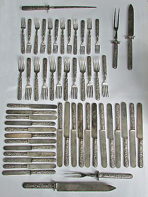 Rare 1885 Gorham Mfg Co #60 Sterling Silver 53 Pieces 80 Ozs Flatware Set
