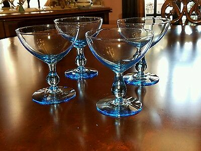 "Morgantown Glass Light Blue Regina 4 1/2"" Saucer Champagne Coupe"