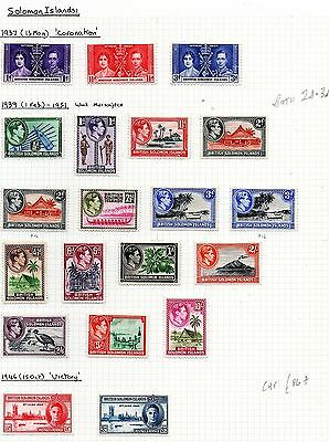 British Solomon Islands (9123)  1937-1946  3 x sets as scan mounted mint