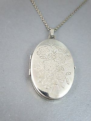 Lovely STERLING SILVER Floral Engraved LOCKET PENDANT W/CHAIN Double Photo