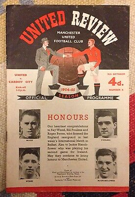 1954-55 MANCHESTER UNITED v CARDIFF CITY 9 OCT 1954 FOOTBALL PROGRAMME