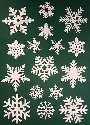 64 Snowflake Window Clings Christmas Stickers - Reusable Decorations - 16 32 48