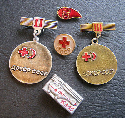 Soviet Russian Red Cross Set Of 5 Medal Pins Badge Moscow Donor Ussr