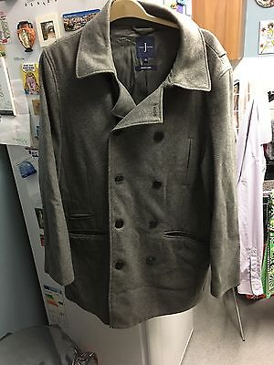 Jasper Conran  Men's Wool Blend Lined Grey Double Breasted Coat Size Large