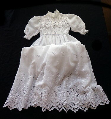 ELABORATE Antique White Schiffli Lace BABY CHRISTENING GOWN DRESS Infant to 3 Mo