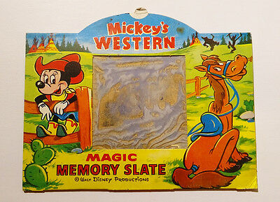 RARE Antique Vintage 1960 ✱ MICKEY MOUSE WESTERN ✱ Magic Slate T.X.TOYS