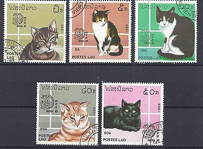 5 Stamps from LAOS showing different CATS