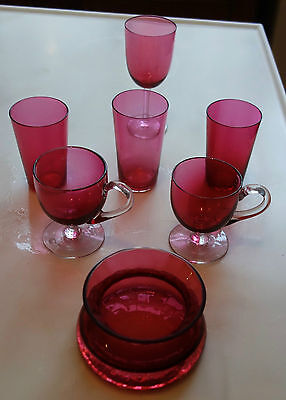 7 x ITEMS OF CRANBERRY GLASS ALL PERFECT - JOB LOT