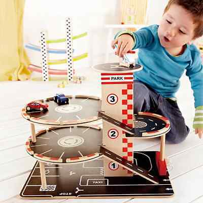 Wooden Multi Storey Car Park Toy Garage 4 Levels 3 Vehicles Christmas Kid Gift