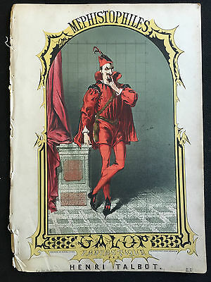 """Victorian Sheet Music """"Mephistophiles Galop"""",  H Talbot, Colour Lithograph Cover"""
