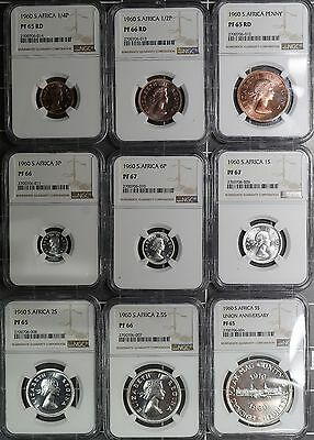 1960 South Africa (9) Coin Proof Set NGC PF65 - PF67