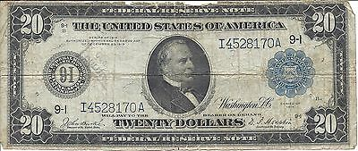 Series of 1914 Large Size $20 Federal Reserve Note - FR 998 - Burke & Houston