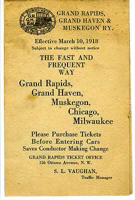 Grand Rapids Grand Haven & Muskegon Railway Timetable, March 10, 1918