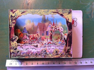 Vintage Pop-up Postcard, diorama, house and garden 1940s 1950s