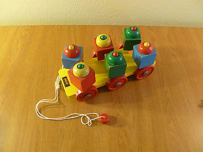Vintage Brio Sweden Pull Toy Turning Colored Wood Blocks
