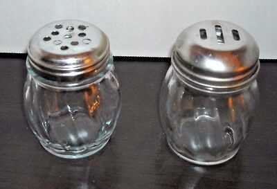 2 Parmesan Cheese or Pepper Flakes Swirl Glass 6 oz. Jars Stainless Lid Shakers