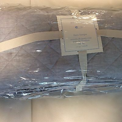 Pottery Barn Kids Diamond Quilted Linen Crib Bumper Gray Solid Belgian New