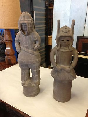 "Pair of 20"" Japanese Armored Haniwa Terra Cotta Figurines Repro 6th Century AD"
