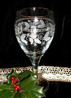 LIBBEY White Holly Etched Wine, Water Goblet, Glass Gold Trim, Christmas