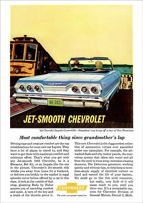 Chevrolet 63 Impala Convertible Retro A3 Poster Print From Classic Advert 1963