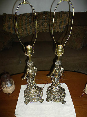 Vintage Metal Cherub Table Lamps Set of Two