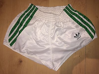 "VINTAGE RETRO ADIDAS SPRINTER SHORTS SIZE D4 28-30"" GREEN WHITE HIGH CUT 80s"