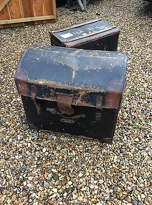 Large Antique Leather And Canvas Vintage Trunk