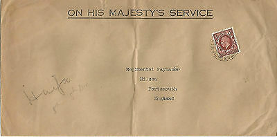 KING GEORGE V 1925 OHMS TYPED COVER WITH 1½d BROWN REF 645