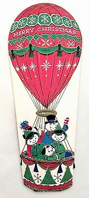 Rare Vintage Christmas Card Die Cut Pink Hot Air Balloon People Family Dog Doll