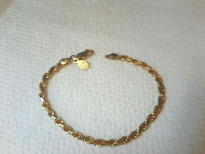 Vintage Gold On Solid Sterling Silver Rope Chain Bracelet