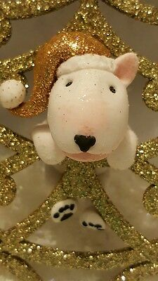 English Bull Terrier Ooak Hand Sculpted Gold Christmas Tree Decoration