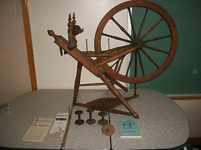 Vintage Spinning Wheel w/ Books & Tools