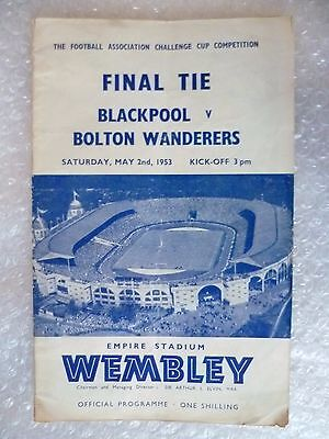 1953 FA Cup FINAL Official Programme-  BLACKPOOL v. BOLTON WANDERERS (Org*)