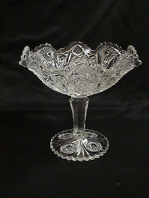 Vintage Imperial Glass Hobstar And Arches Clear Compote