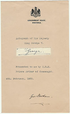 King George V Clipped Laid Down Signature Autograph South Africa Government 1922