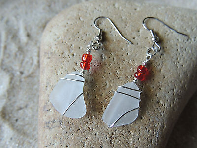 Handmade Surf Tumbled Natural Bright White Sea Glass Earrings With Red Accents