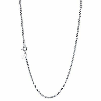 925 Sterling Silver Italy Round Snake Chain 1-2mm HYPOALLERGENIC-RHODIUM plated