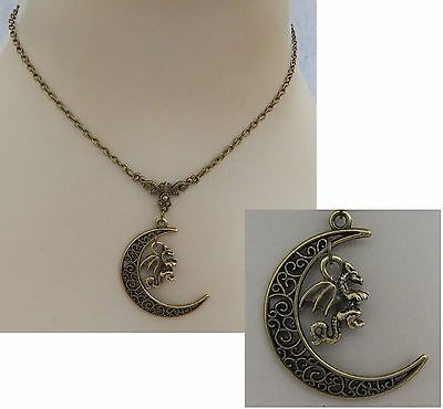 Gold Dragon Moon Pendant Necklace Jewelry Handmade NEW adjustable Accessories