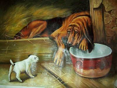 Large oil painting of bloodhound and terrier