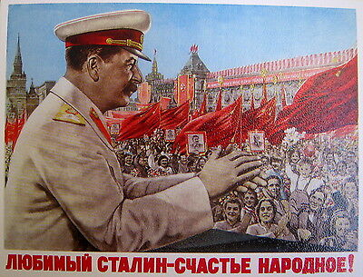 Soviet Russian Poster - Lovely Stalin – people happiness!
