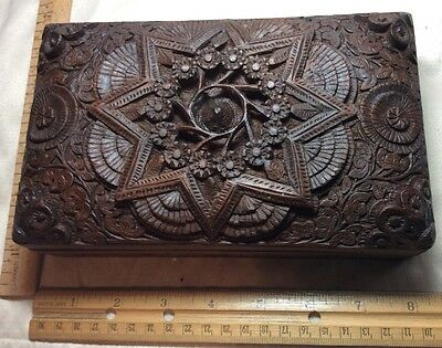 Antique Hand Carved Wood Box Extraordinary Artwork