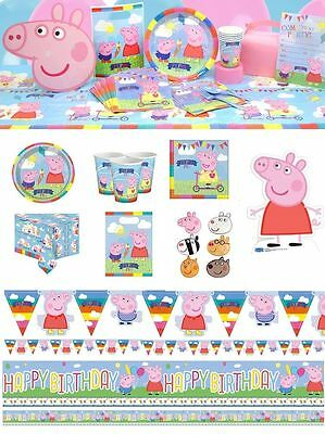 Peppa Pig Birthday Party Table Supplies Plates Napkins Cups Decorations Banners