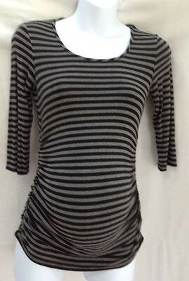 Maternity Pea in the Pod 3/4 sleeve gray/black stripe ruched tee Size XS