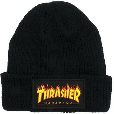 "New with Tags THRASHER Skateboard Magazine ""Flame Logo"" Patch Beanie (Black)"
