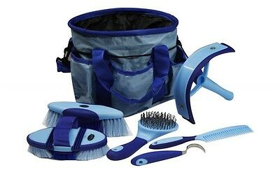 BLUE 6 Piece Soft Grip Horse Grooming Kit w/ Nylon Carrying Bag! NEW HORSE TACK!