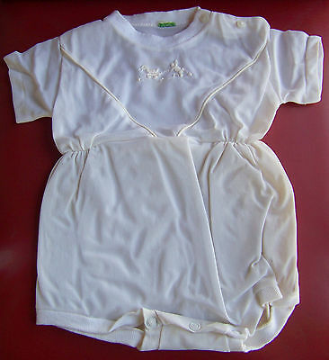 Vintage Baby Romper One Piece White Plastic Diaper Cover Dog Duck Embroidery 12