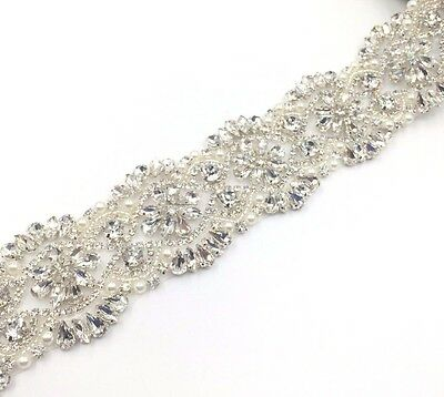 11''Beautiful Pearl Bridal Rhinestone Wedding Sash belt , bridal dresses trim