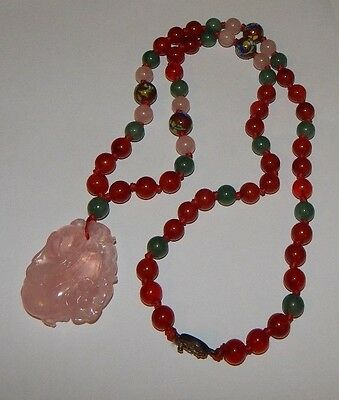 Antique Chinese Carved Jade Amber Rose Quartz Sterling Plaque Pendant Necklace