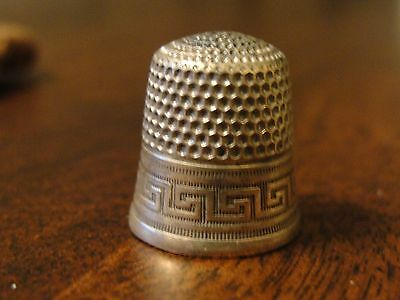 Antique Sterling Thimble w/ Anchor Logo - Size 7